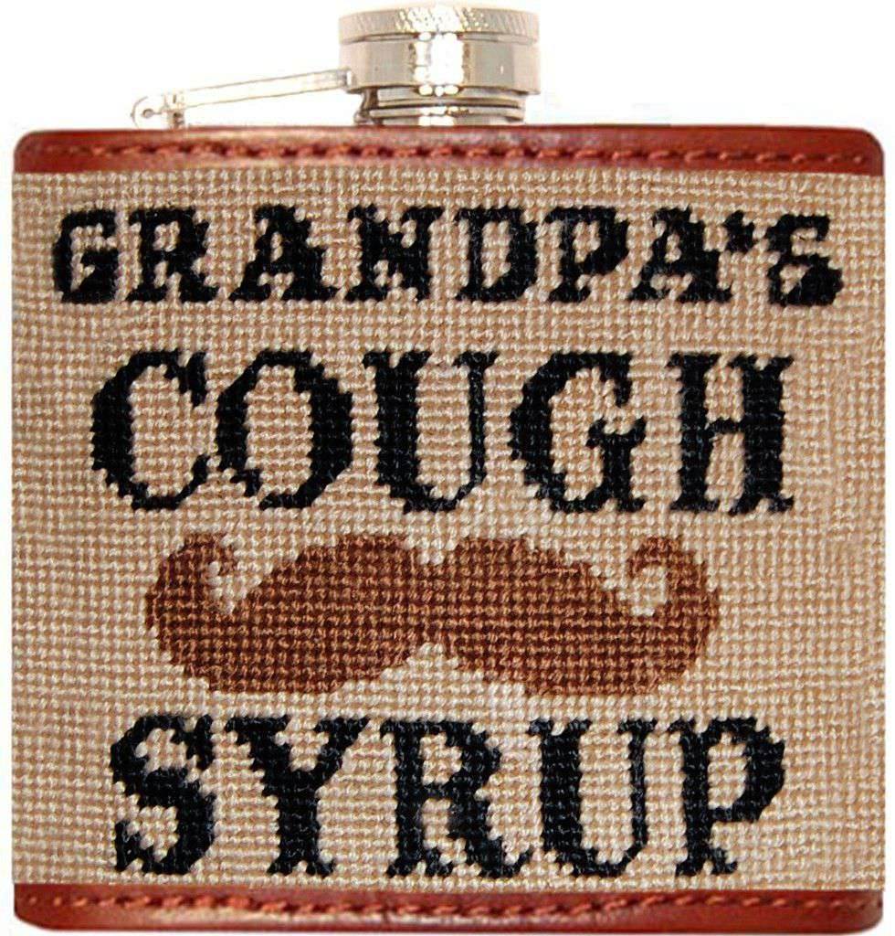 Flasks - Grandpa's Cough Syrup Needlepoint Flask In Tan By Smathers & Branson