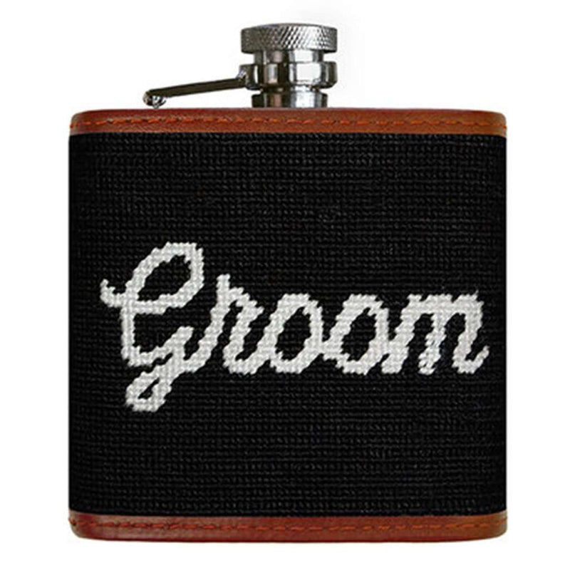Groom Needlepoint Flask in Black by Smathers & Branson