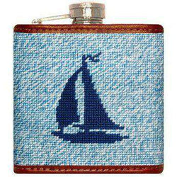 Heathered Sailboat Needlepoint Flask in Blue by Smathers & Branson
