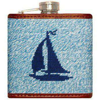 Flasks - Heathered Sailboat Needlepoint Flask In Blue By Smathers & Branson