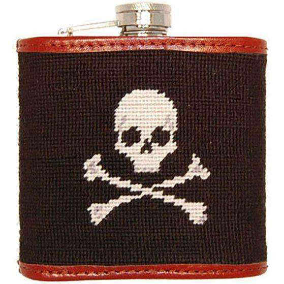 Jolly Roger Needlepoint Flask in Black by Smathers & Branson