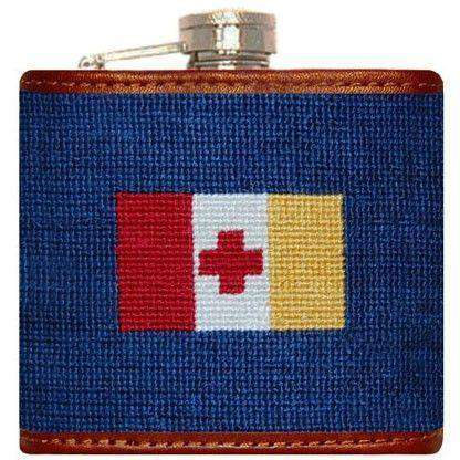 Flasks - Kappa Alpha Order Needlepoint Flask In Blue By Smathers & Branson