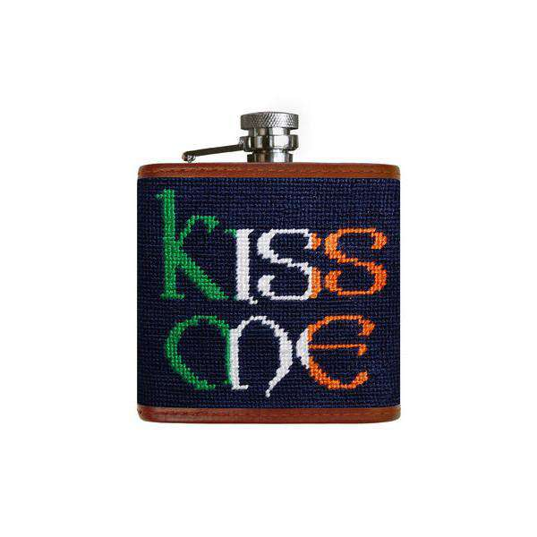 Flasks - Kiss Me Needlepoint Flask In Dark Navy By Smathers & Branson