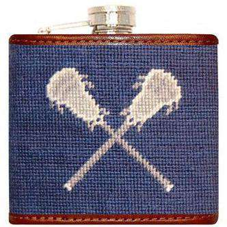 Flasks - Lacrosse Needlepoint Flask In Blue By Smathers & Branson
