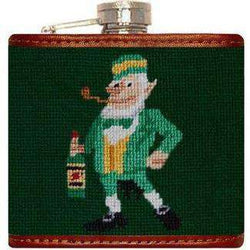 Flasks - Leprechaun Needlepoint Flask In Green By Smathers & Branson