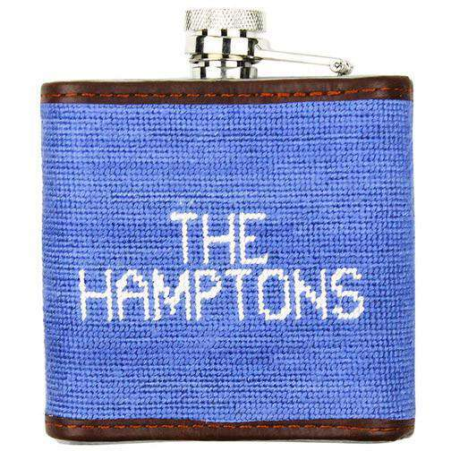 Flasks - Limited Edition Southampton-American Flag Needlepoint Flask In Light Blue By Smathers & Branson