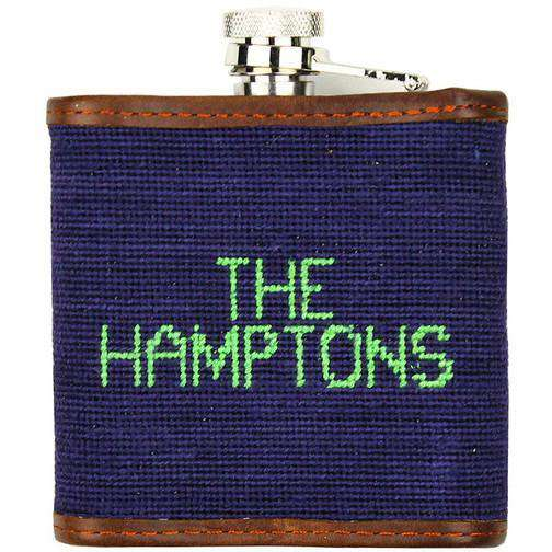 Limited Edition Southampton-Beach Chair Needlepoint Flask in Navy by Smathers & Branson