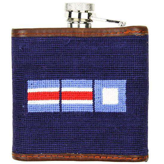 Flasks - Limited Edition Southampton-Nautical Flags Needlepoint Flask In Navy By Smathers & Branson