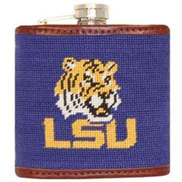 Flasks - Louisiana State University Needlepoint Flask In Purple By Smathers & Branson