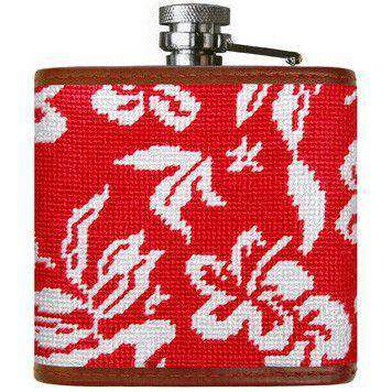 Flasks - Magnum PI Needlepoint Flask In Bright Red By Smathers & Branson