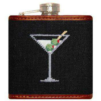 Flasks - Martini Needlepoint Flask In Black By Smathers & Branson