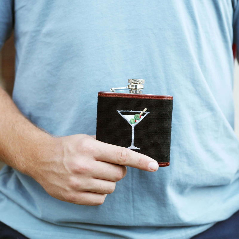 Martini Needlepoint Flask in Black by Smathers & Branson