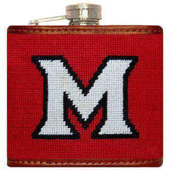 Flasks - Miami University Needlepoint Flask In Red By Smathers & Branson