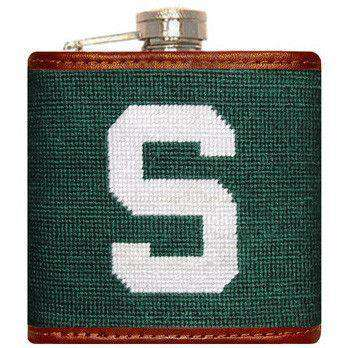 Flasks - Michigan State Needlepint Flask In Green By Smathers & Branson