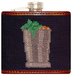 Flasks - Mint Julep Needlepoint Flask In Classic Navy By Smathers & Branson