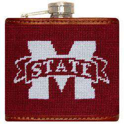 Flasks - Mississippi State Needlepoint Flask In Maroon By Smathers & Branson