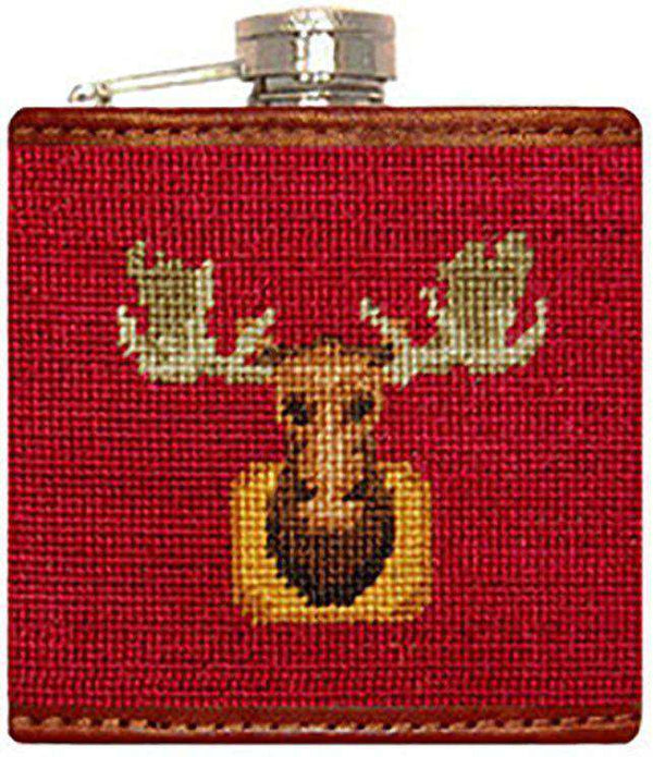 Flasks - Moose Needlepoint Flask In Dark Red By Smathers & Branson