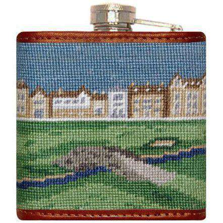 Old Course Needlepoint Flask by Smathers & Branson