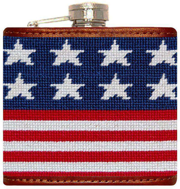 Flasks - Old Glory Needlepoint Flask In Red, White, And Blue By Smathers & Branson