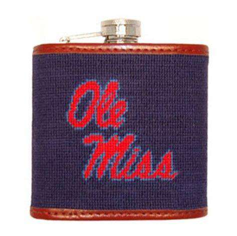 Flasks - Ole Miss Needlepoint Flask In Navy By Smathers & Branson