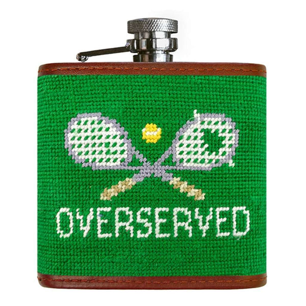 Overserved Needlepoint Flask in Dark Kelly by Smathers & Branson