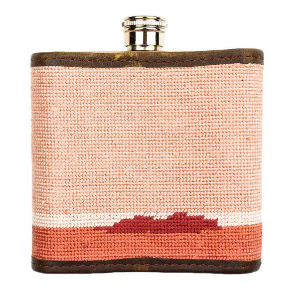 Flasks - Palm Tree Needlepoint Flask In Sunset By Smathers & Branson