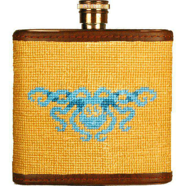 Flasks - Parlour's Kraken Needlepoint Flask In Mango By Smathers & Branson