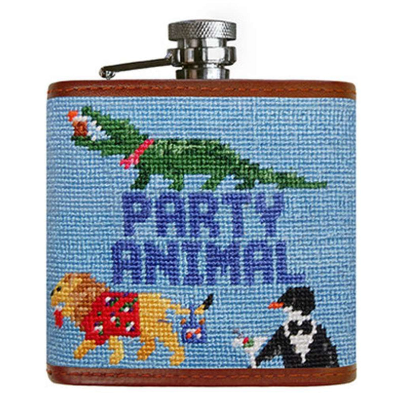 Flasks - Party Animal Needlepoint Flask In Light Blue By Smathers & Branson