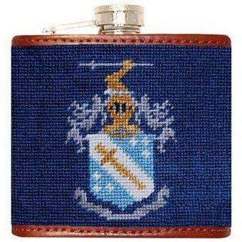 Flasks - Phi Delta Theta Needlepoint Flask In Blue By Smathers & Branson