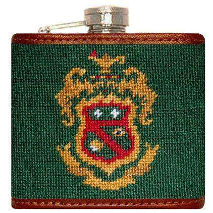 Phi Kappa Psi Needlepoint Flask in Green by Smathers & Branson