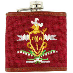 Flasks - Pi Kappa Alpha (PIKE) Needlepoint Flask In Maroon By Smathers & Branson