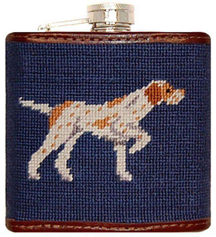 Flasks - Pointer Needlepoint Flask By Smathers & Branson