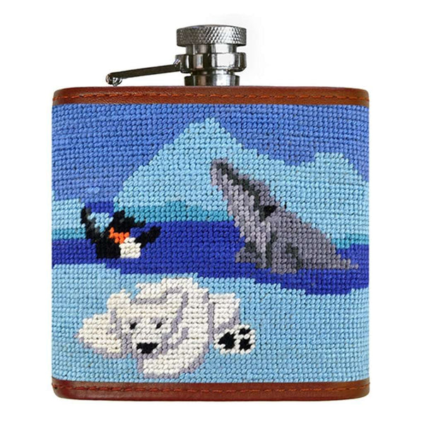 Polar Party Needlepoint Flask by Smathers & Branson