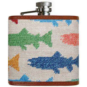 Flasks - Rainbow Trout Needlepoint Flask In Oatmeal By Smathers & Branson