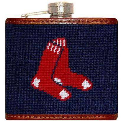 Flasks - Red Sox Needlepoint Flask In Navy By Smathers & Branson