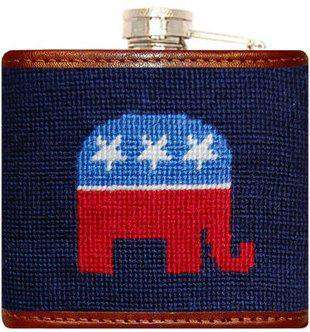 Flasks - Republican Needlepoint Flask In Navy By Smathers & Branson
