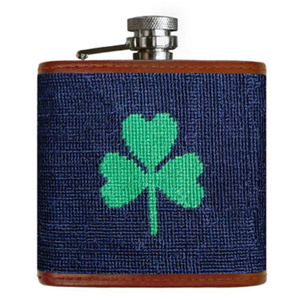 Flasks - Shamrock Needlepoint Flask In Dark Navy By Smathers & Branson