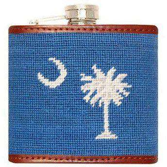 South Carolina State Flag Needlepoint Flask in Blue by Smathers & Branson