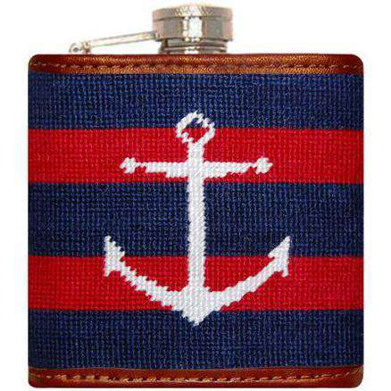 Striped Anchor Needlepoint Flask in Navy and Red by Smathers & Branson