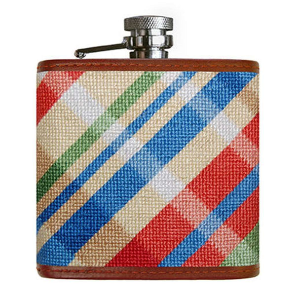 Flasks - Summer Madras Needlepoint Flask By Smathers & Branson