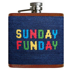 Sunday Funday Needlepoint Flask in Navy by Smathers & Branson