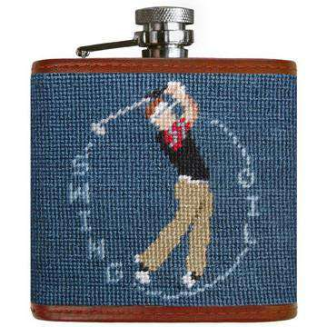 Swing Oil Needlepoint Flask in Slate by Smathers & Branson