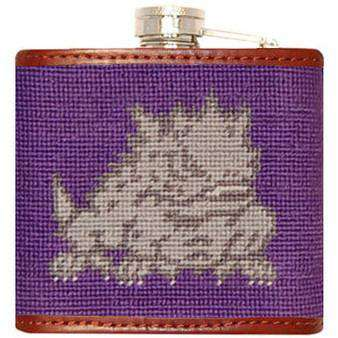 TCU Needlepoint Flask in Purple by Smathers & Branson