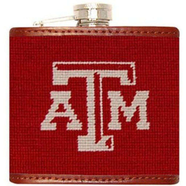 Flasks - Texas A & M University Needlepoint Flask In Maroon By Smathers & Branson