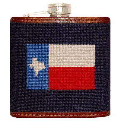 Flasks - Texas Flag Needlepoint Flask In Navy By Smathers & Branson