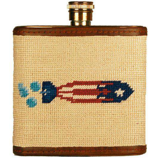 Flasks - Torpedo Needlepoint Flask In Khaki By Smathers & Branson