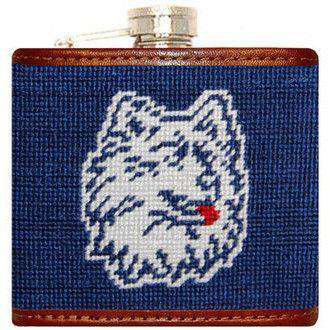 Flasks - University Of Connecticut Needlepoint Flask In Blue By Smathers & Branson