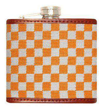 University of Tennessee Endzone Checkered Needlepoint Flask in Orange & White by Smathers & Branson