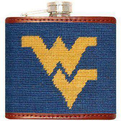 Flasks - West Virginia Needlepoint Flask In Blue By Smathers & Branson