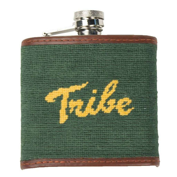 Flasks - William & Mary Tribe Needlepoint Flask In Hunter By Smathers & Branson